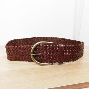 Cole Haan Brown Thick Leather Woven Belt